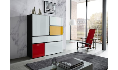 GERMANIA Highboard »Ideeus«, Breite 120 cm, Fronten und Oberboden mit Glasauflagen in... kaufen