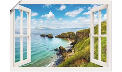 Artland Wandbild »Küstenweg in Nordirland durchs Fenster«, Meer Bilder, (1 St.), in... kaufen