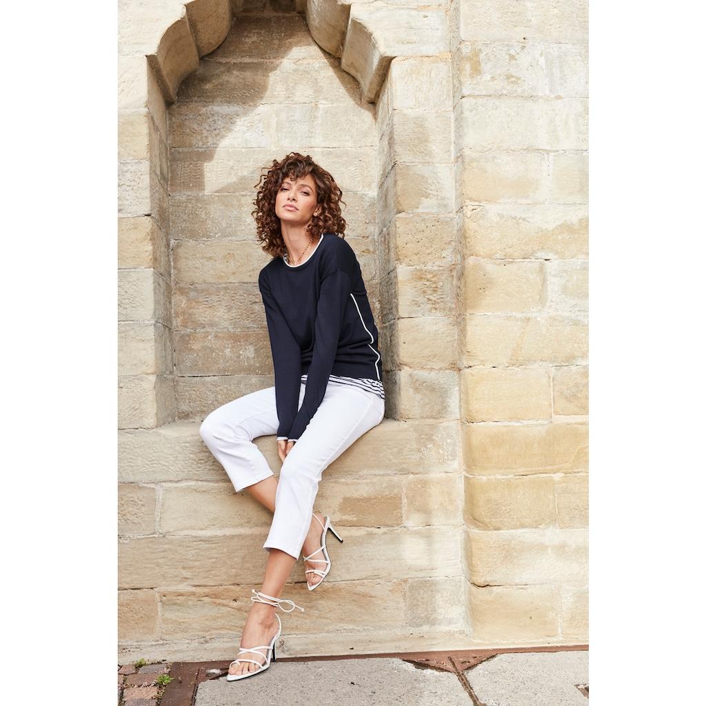 Aniston SELECTED Strickpullover, mit konstrastfarbenen Einsätzen