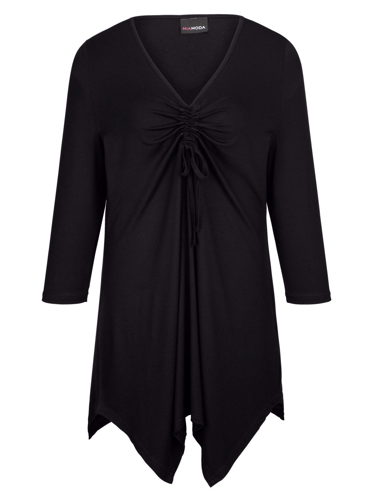MIAMODA Zipfelshirt mit Raffung und Bindeband am Ausschnitt | Bekleidung > Shirts > Zipfelshirts | Schwarz | Miamoda