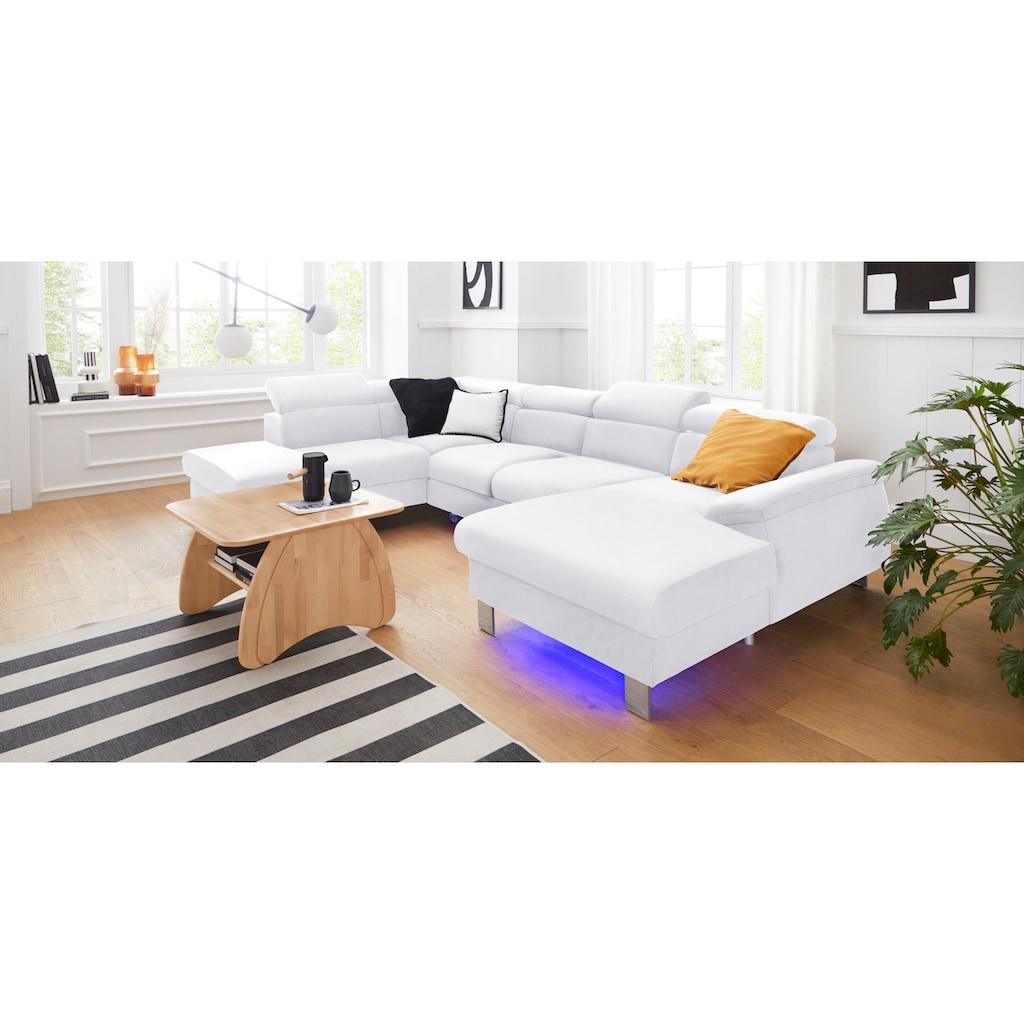 COTTA Wohnlandschaft »Komaris«, inklusive Kopfteilverstellung, wahlweise mit Bettfunktion und RGB-LED-Beleuchtung