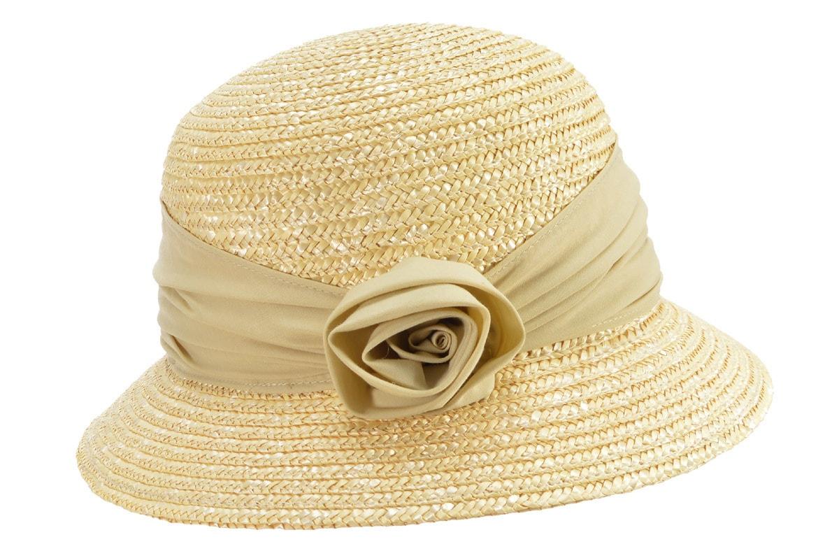 Seeberger Strohhut Glocke aus Strohborte mit Stoffblume 50447-0, beige, Damen