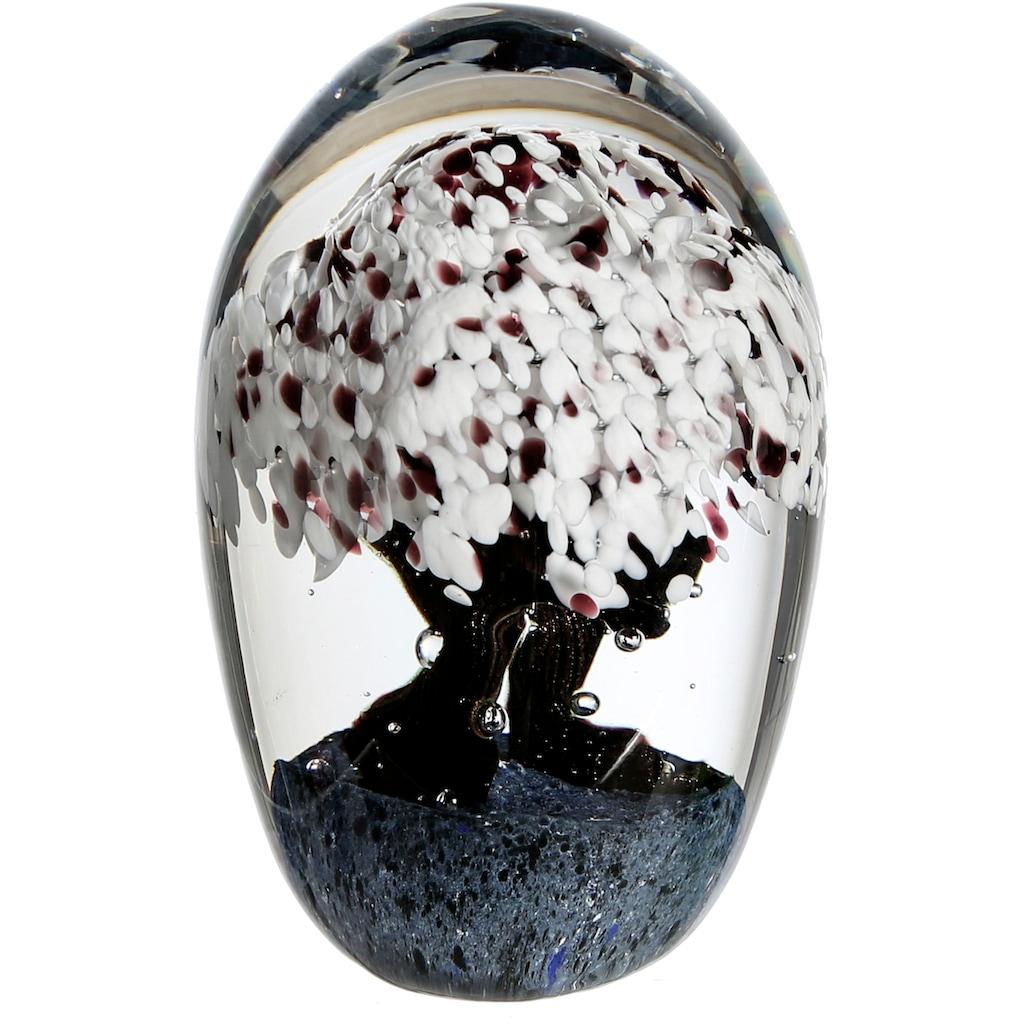 Casablanca by Gilde Dekoobjekt »Briefbeschwerer Cherry Tree«, Schreibtischdeko, Höhe 15 cm, durchgefärbtes Glas, Motiv Kirschbaum, Wohnzimmer