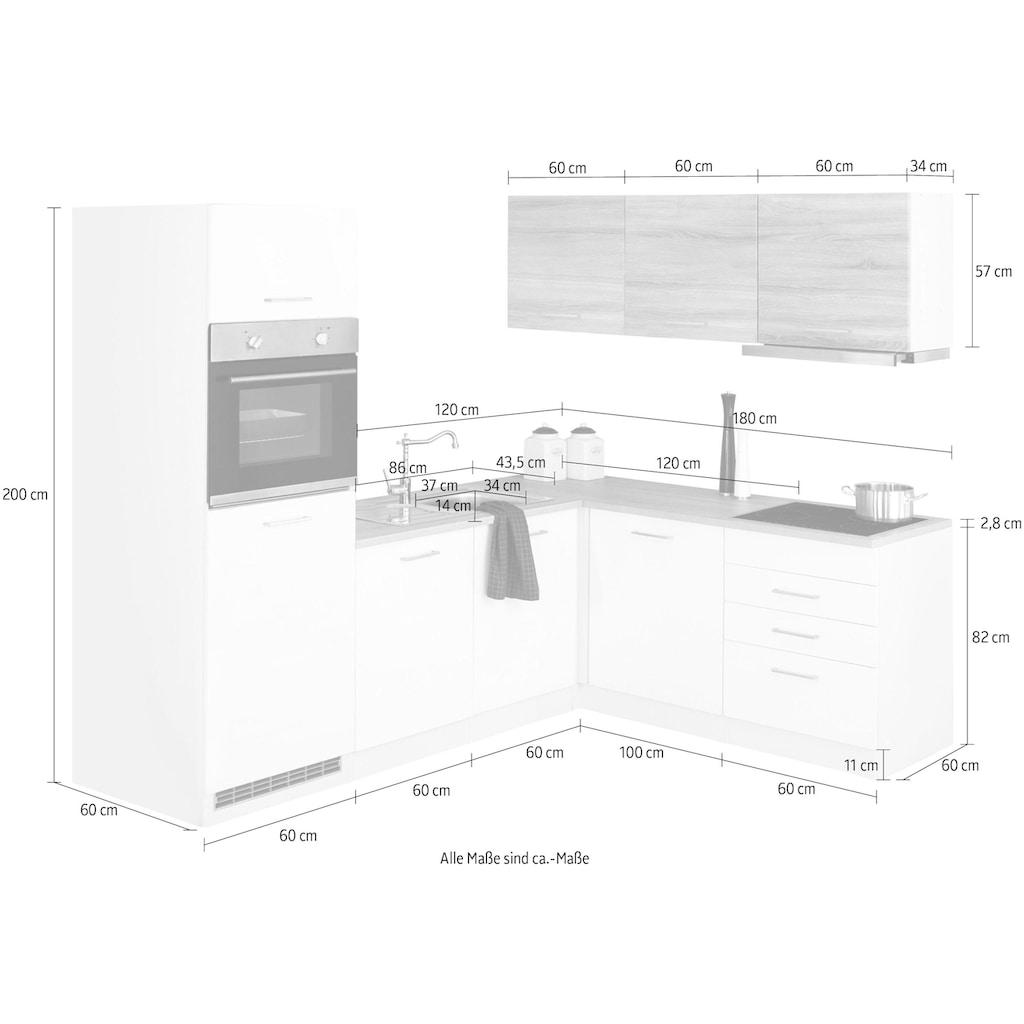 HELD MÖBEL Winkelküche »Visby«, mit E-Geräten, Stellbreite 240 x 180 cm