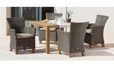MERXX Gartenmöbelset »Toskana«, 9 - tlg., 4 Sessel, Tisch 110x100 cm, Polyrattan/Akazie kaufen