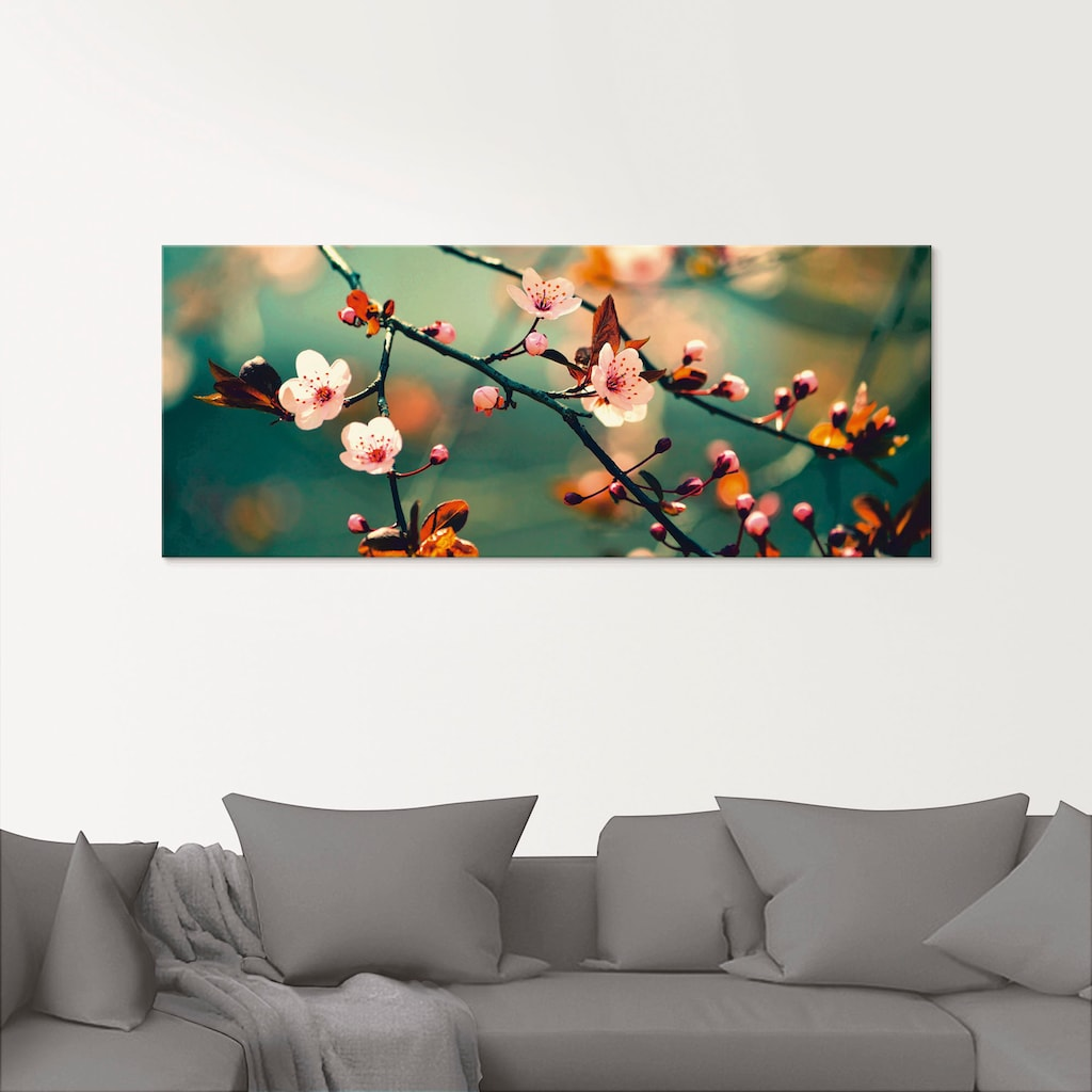 Artland Glasbild »Japanische Kirsch Sakura Blumen«, Blumen, (1 St.)