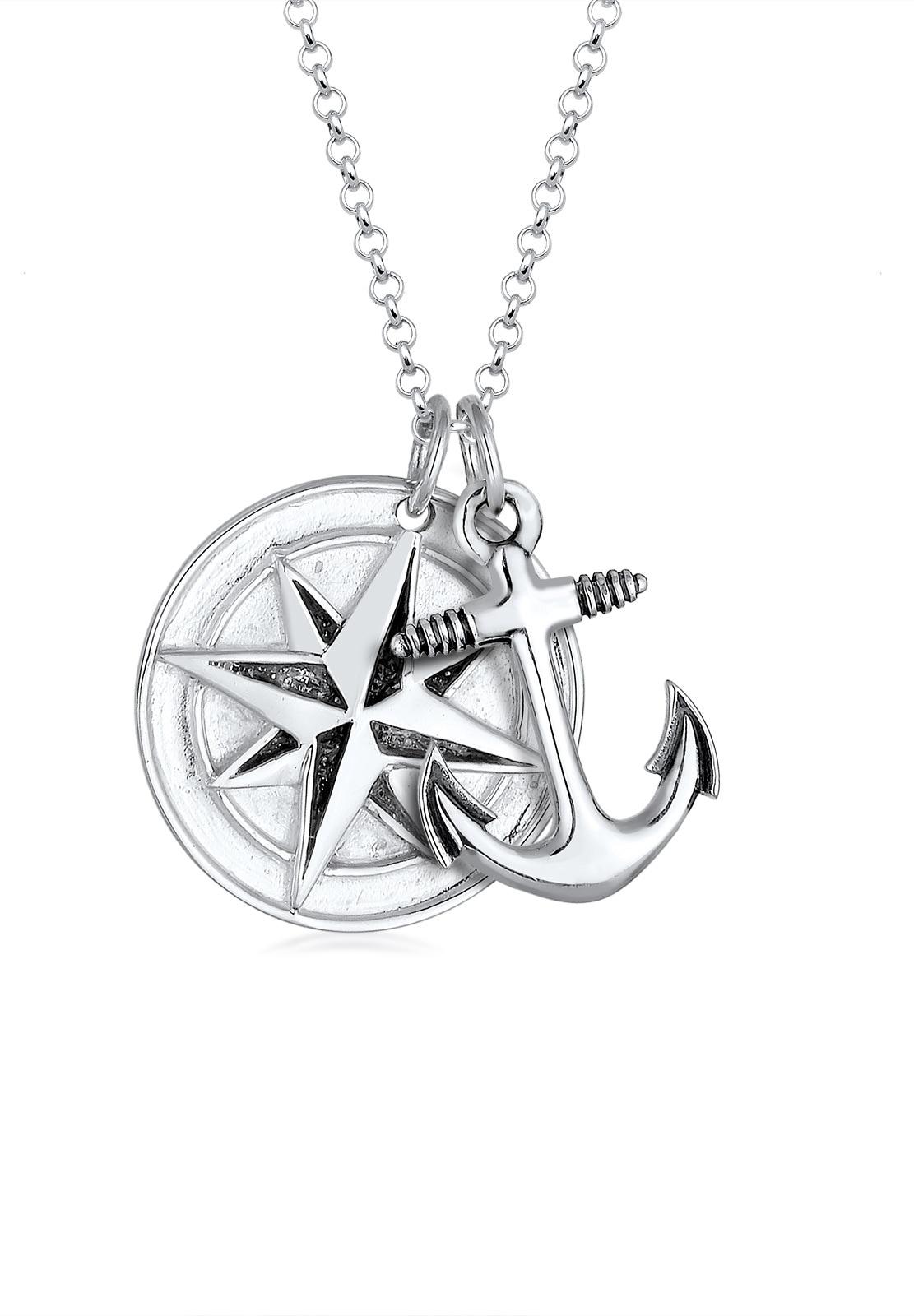 Paulo Fanello Silberkette Kompass Anker Medaillon 925 Sterling Silber | Schmuck > Halsketten > Silberketten | Paulo Fanello