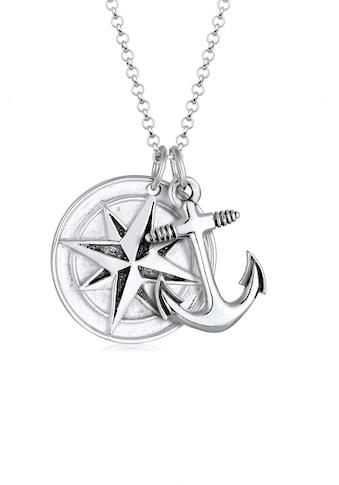 Kuzzoi Lange Kette »Kompass Anker Medaillon 925 Sterling Silber« kaufen