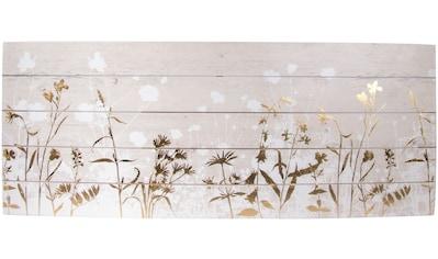 Art for the home Holzbild »Gräser und Wildblumen«, Wiesen & Bäume, mit Goldverzierungen kaufen