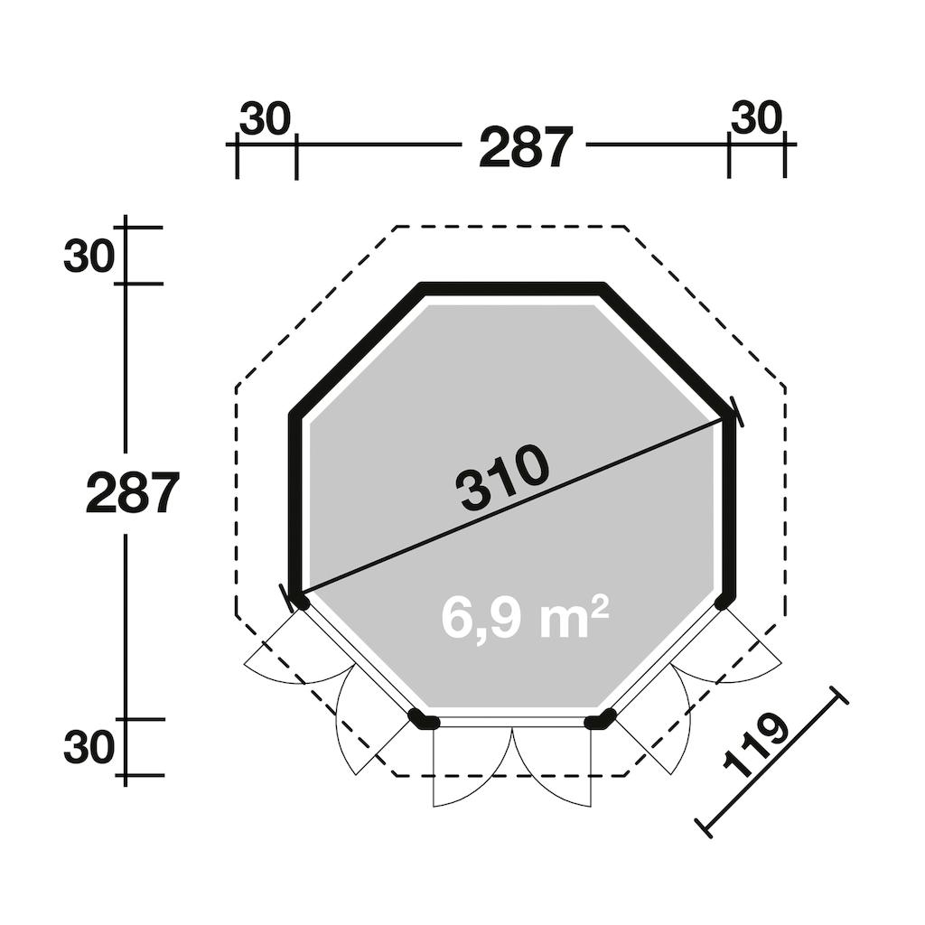 Wolff Holzpavillon »Palma«, (Set), BxT: 347x347 cm, mit Fußboden