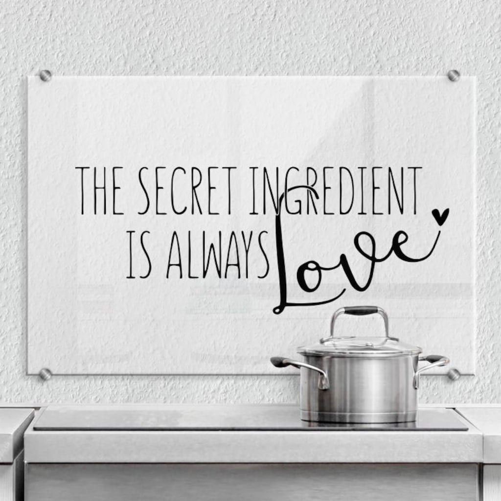 Wall-Art Küchenrückwand »The secret ingredient is love«