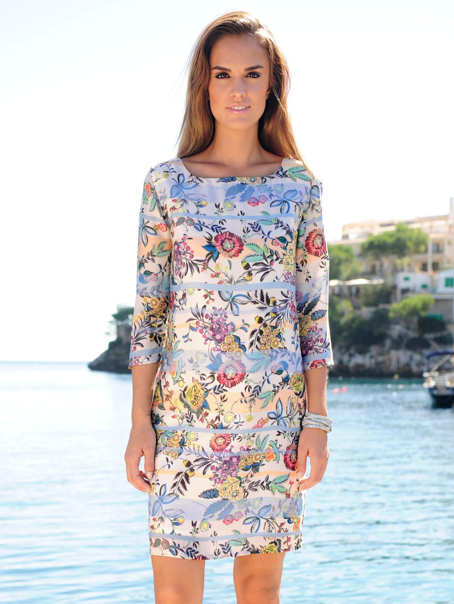 Alba Moda Druckkleid mit Mustermix aus Streifen und Blüten