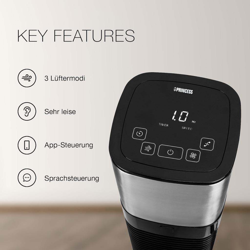 PRINCESS Turmventilator »01.350000.01.001«, smarter Ventilator, sprachsteuerbar mit Alexa &Google, App fähig