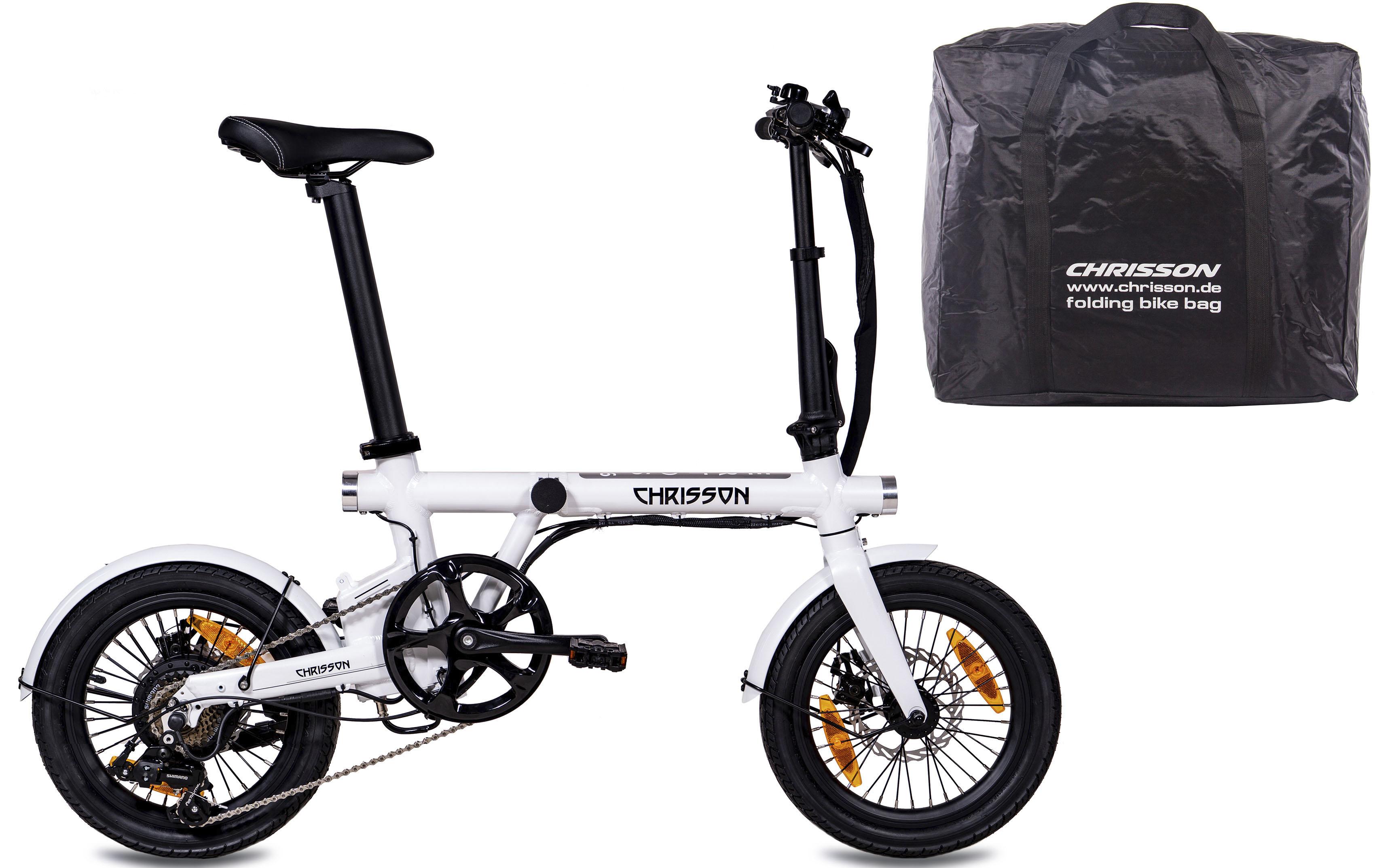 Chrisson E-Bike ERTOS16 v2.0, 7 Gang, Shimano, Tourney RD-FT35, Heckmotor 250 W weiß E-Bikes Fahrräder Zubehör