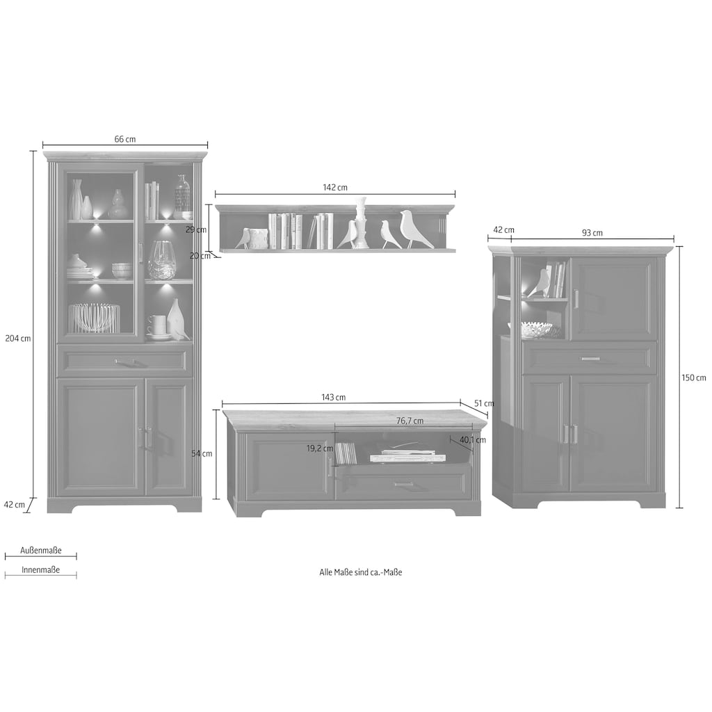 Innostyle Wohnwand »Jasmin«, (Set, 4 St.), inkl. LED-Beleuchtung, mit Soft-Close-Funktion
