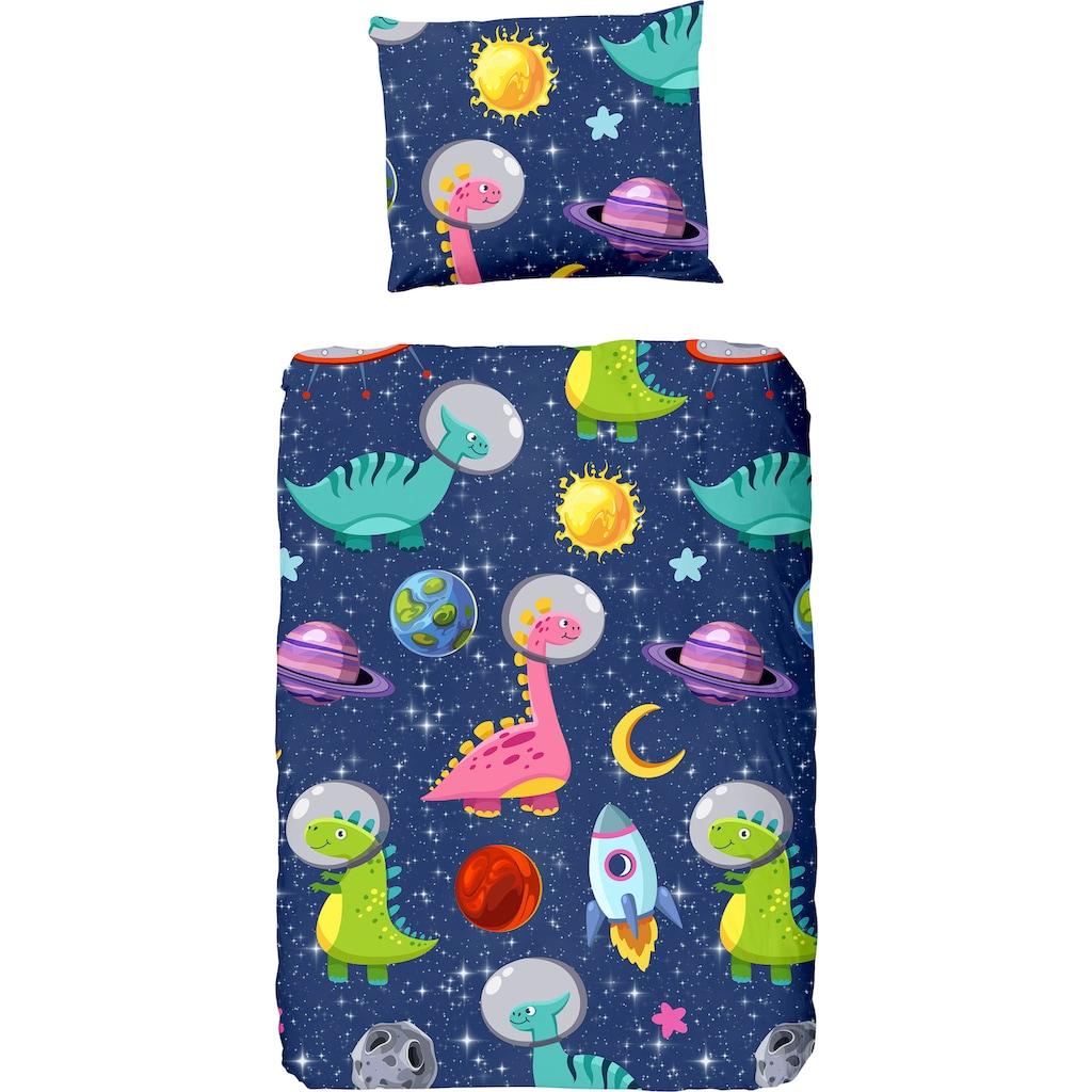 good morning Kinderbettwäsche »Dinospace«, mit Dinosauriern