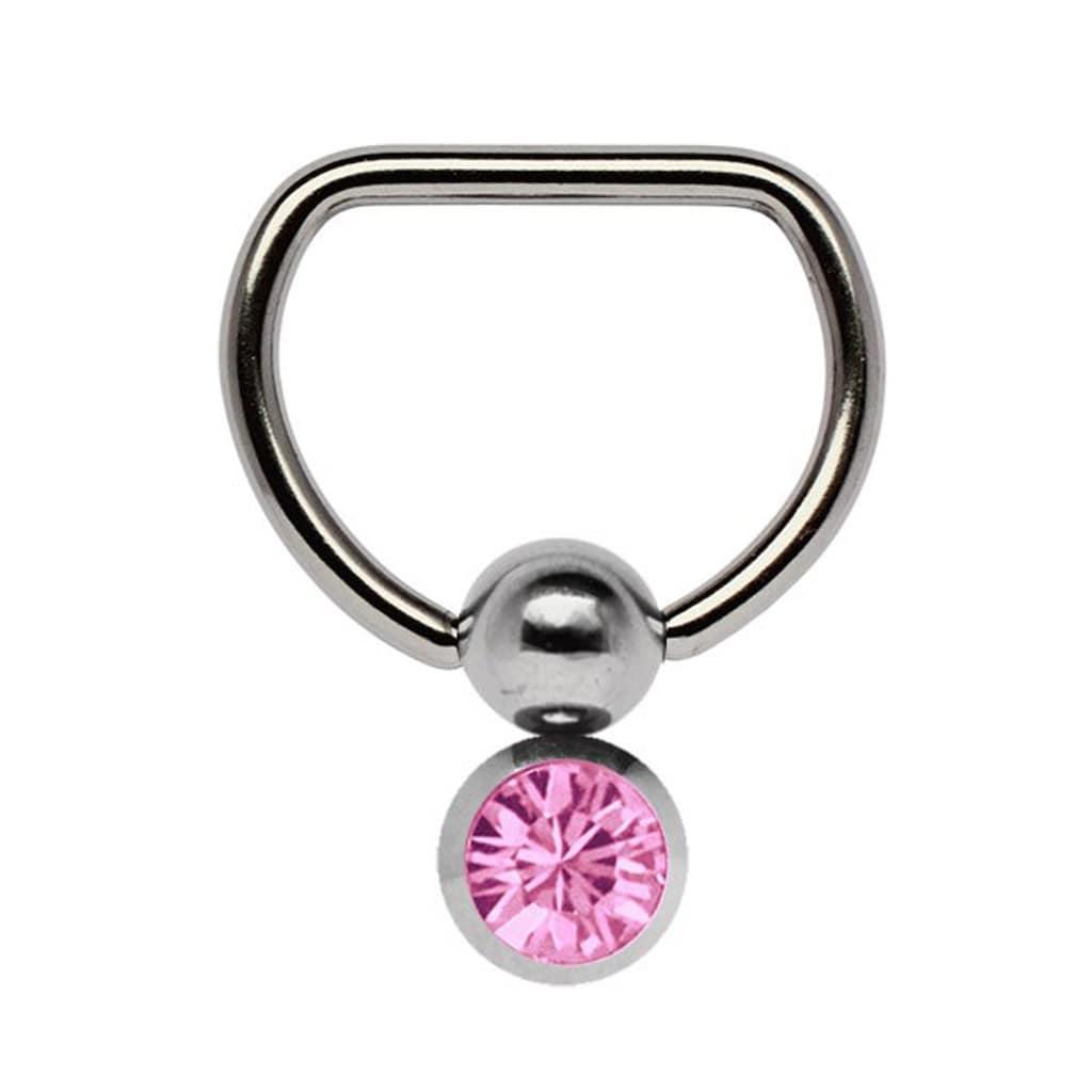 Adelia´s Brustwarzenpiercing »Brustpiercing«, Titan Brustpiercing D-Ring mit Doppel Klemmkugel und 6 mm Stein rosa