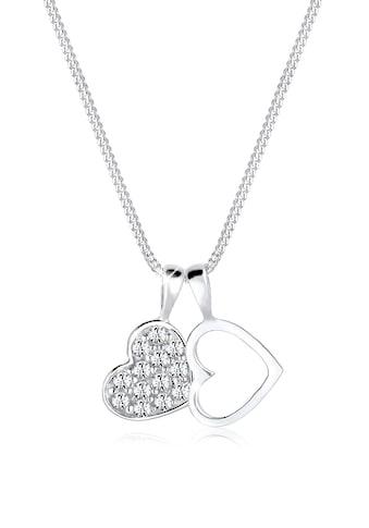 Elli Collierkettchen »Herz Duo Funkelnd Swarovski® Kristalle 925 Silber« kaufen
