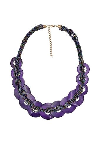 Steuer Collierkette »Glasperlenkette mit Muschelringen lila« kaufen