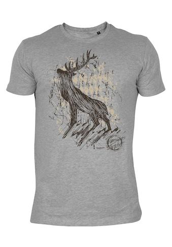Der Trachtler T - Shirt mit angesagtem Hirsch - Print kaufen