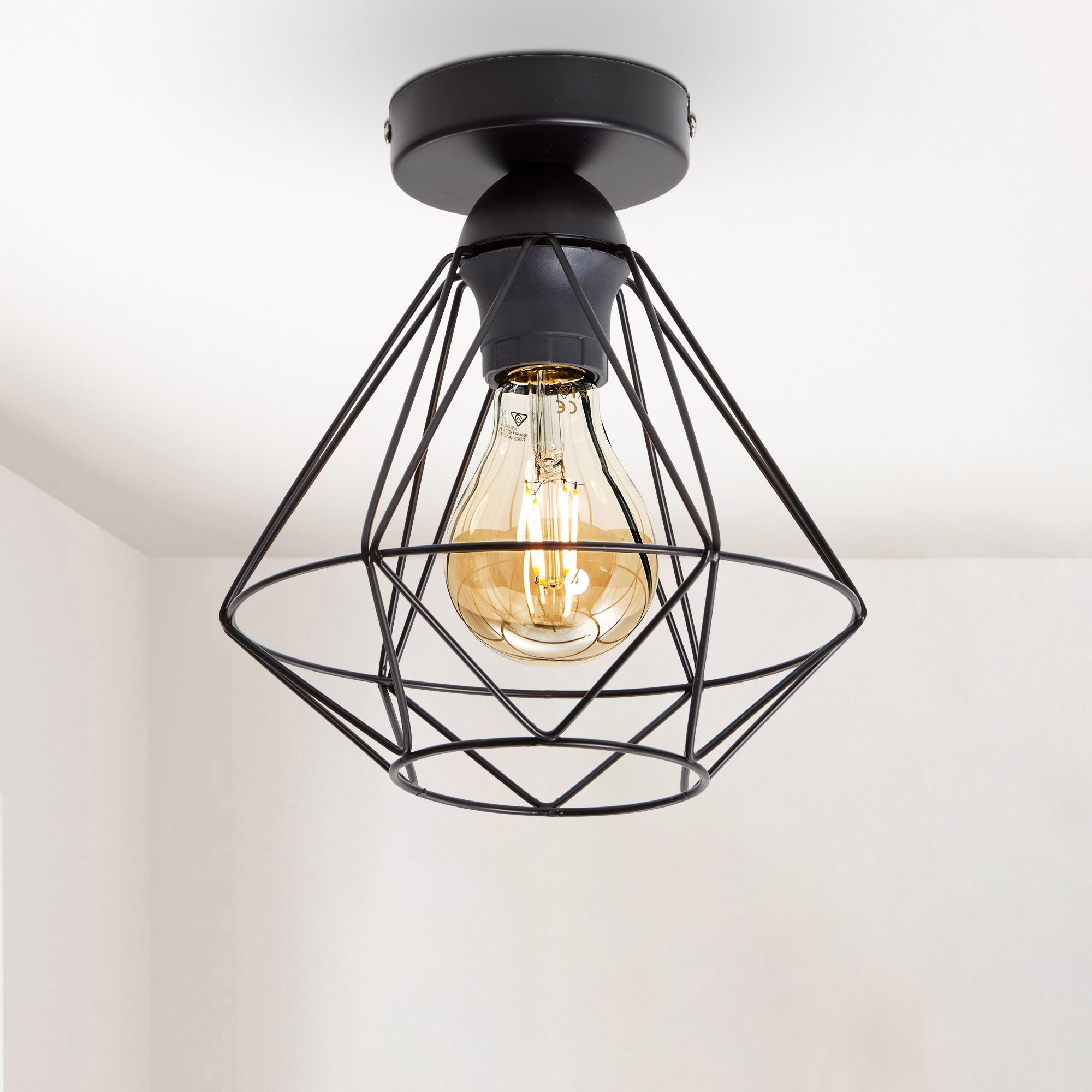 B.K.Licht Deckenleuchte, E27, LED Deckenlampe schwarz Metall Draht Vintage Industrielampe Retroleuchte E27 Käfig