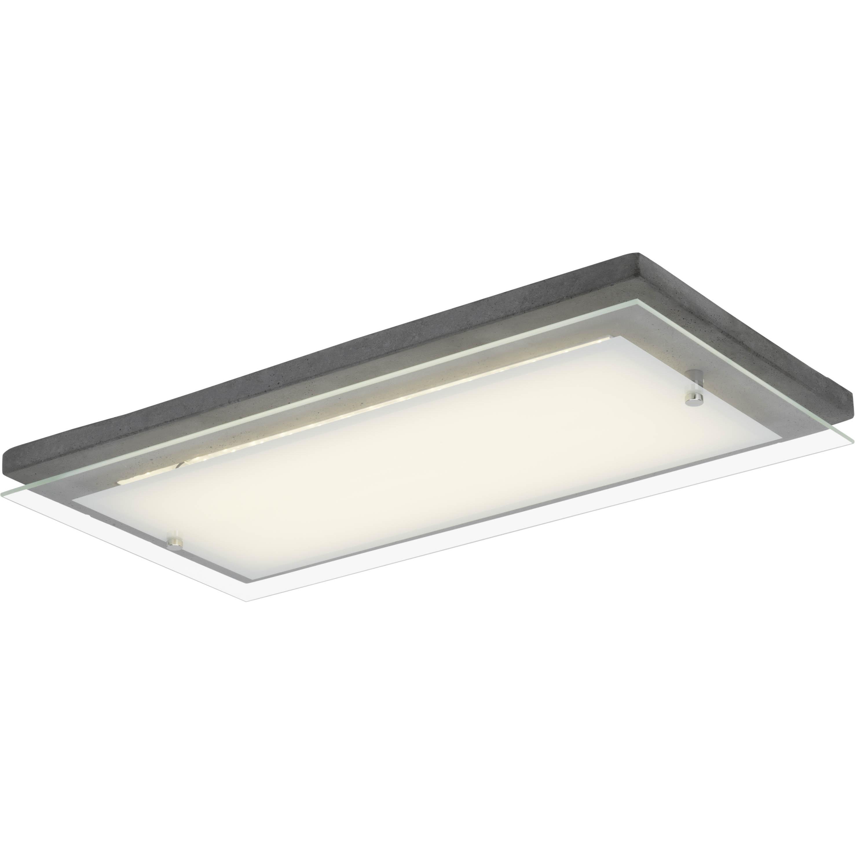 Brilliant Leuchten Hardwood LED Wand- und Deckenleuchte 57x29cm beton/weiß