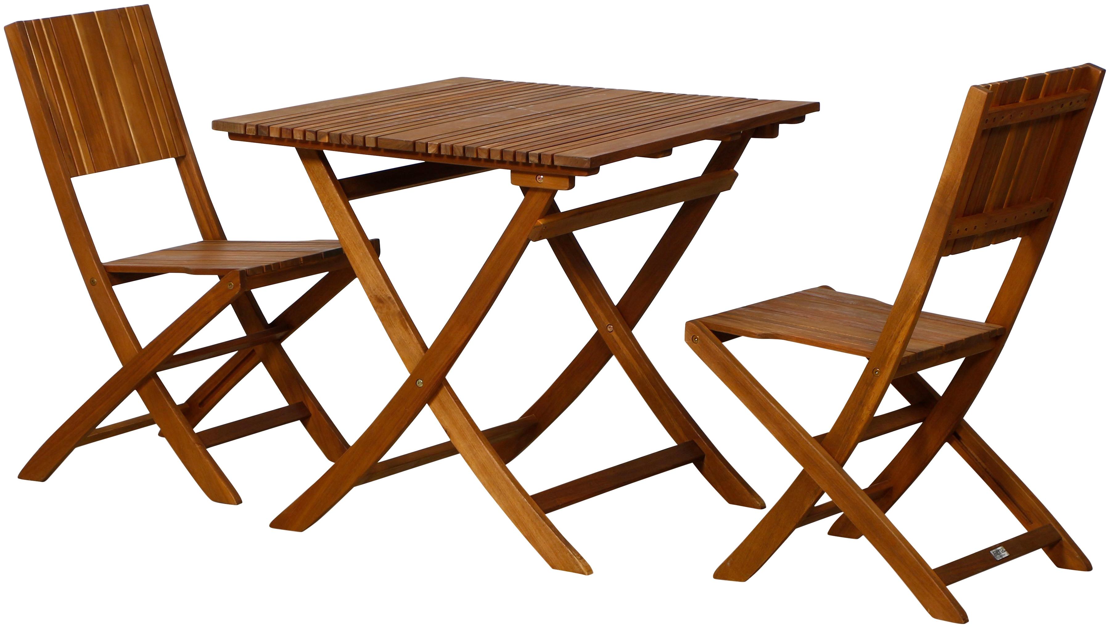 SIENA GARDEN Gartenmöbelset Falun SET 3tlg Akazienholz 2 Stuhl Tisch 80x80 cm