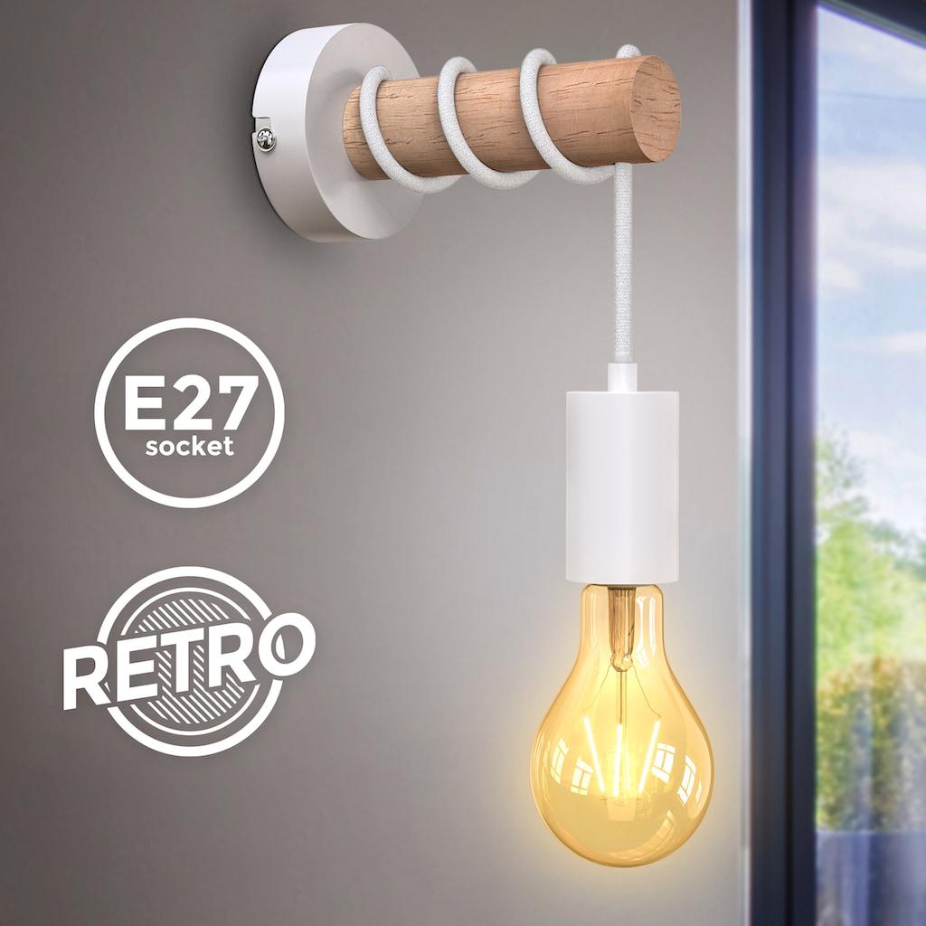 B.K.Licht Wandleuchte, E27, 1 St., Wandlampe, 1 flammige Vintage Lampe, Industrial Design, Retro Lampe, Stahl, Holz, Rund, E27, ohne Leuchtmittel