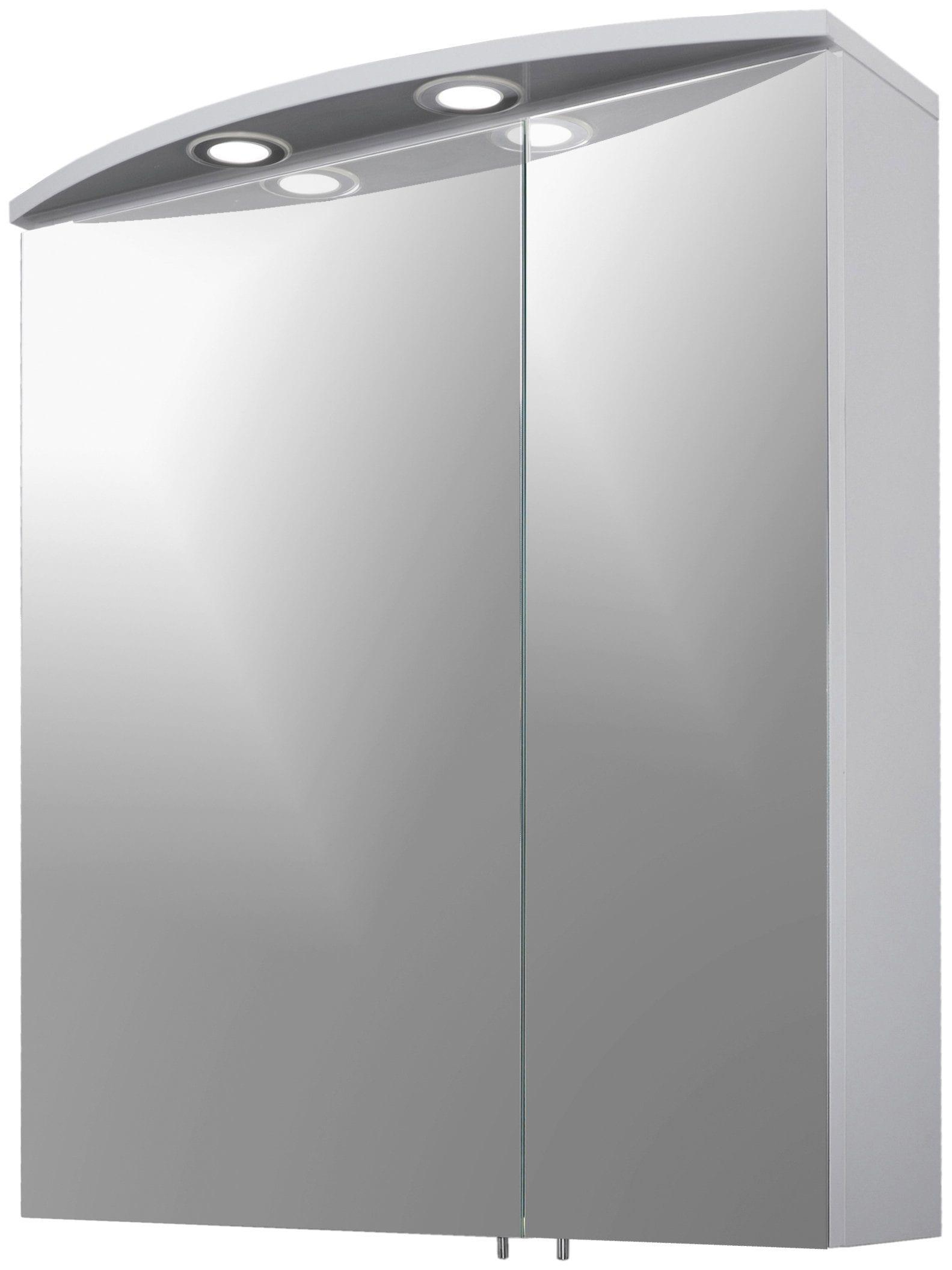 Schildmeyer Spiegelschrank Verona, Breite 60 cm, 2-türig, 2 LED-Einbaustrahler, Schalter-/Steckdosenbox, Glaseinlegeböden, Made in Germany