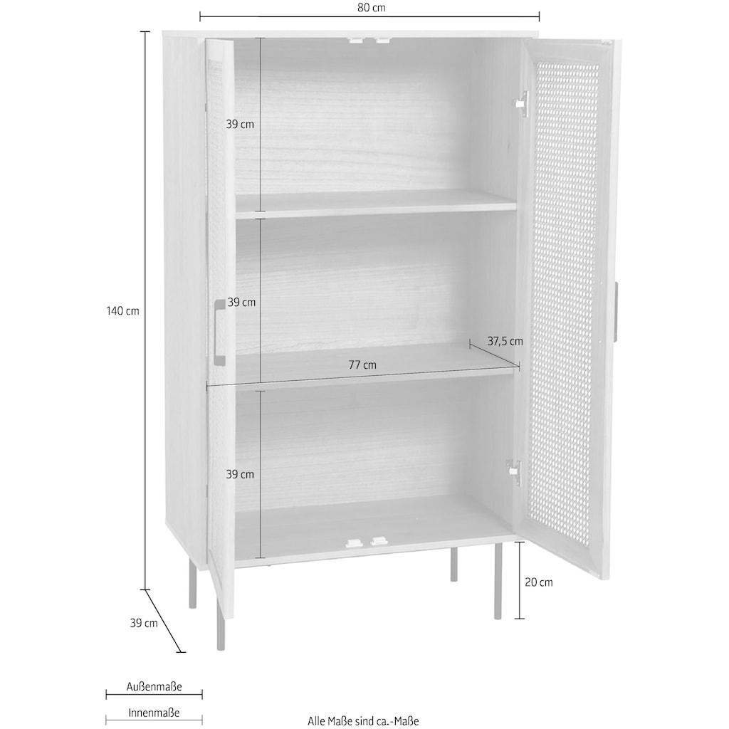 my home Highboard »Ailis«, Türen mit Einsatz aus Rattangeflecht