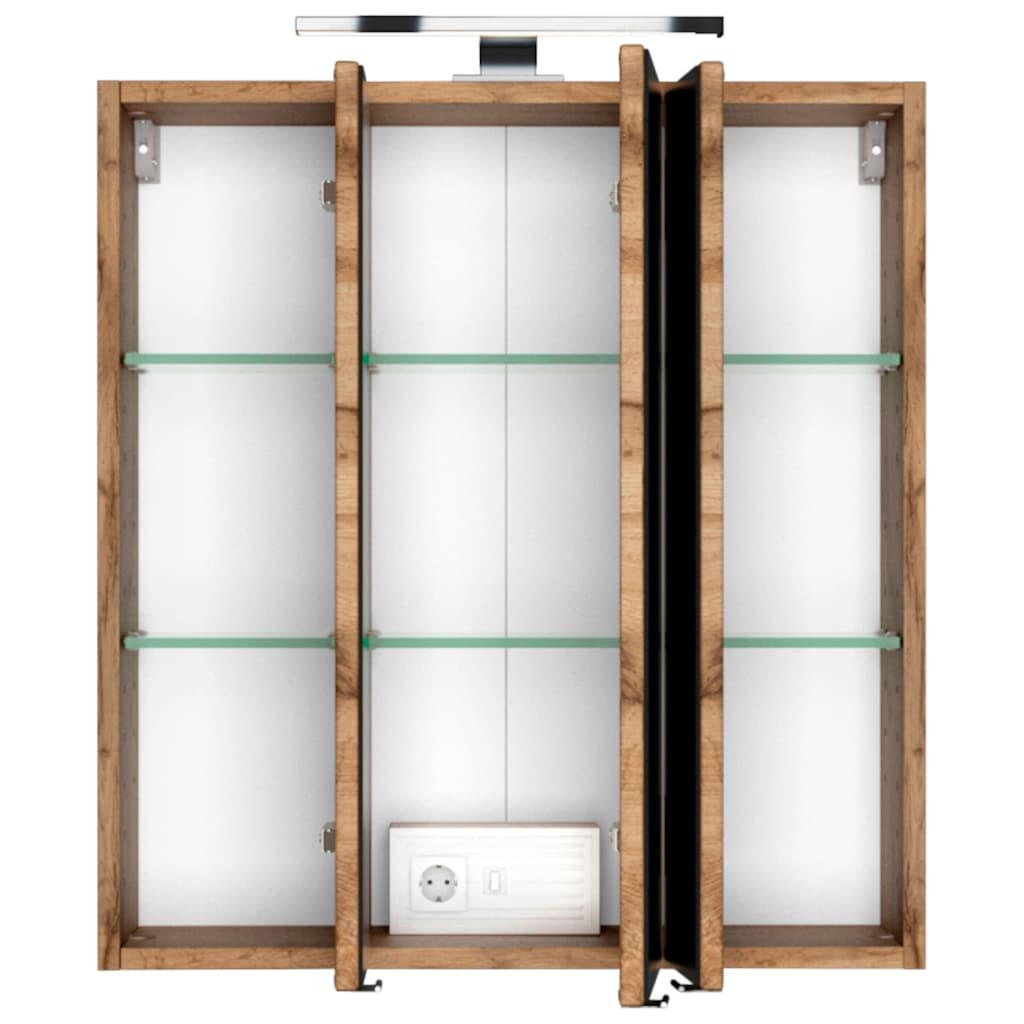 HELD MÖBEL Badmöbel-Set »Catania«, (3 St.), mit 3D-Spiegelschrank und gebogenes Mineralgussbecken