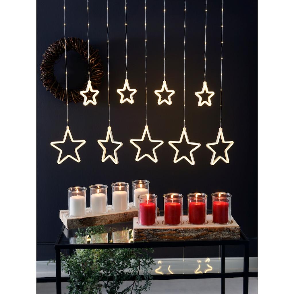 Adventsleuchter »Stamm«, auf Holz und Glas, mit Kerzenfüllung