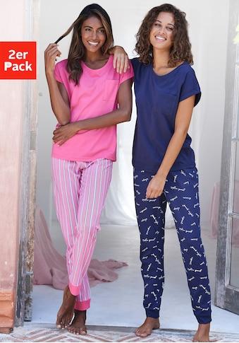 Vivance Dreams Pyjama, (2 Stück), mit Streifen- und Schriftdruck kaufen