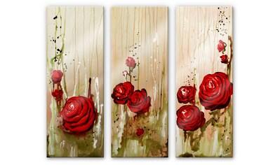 Wall-Art Mehrteilige Bilder »Schlafzimmer Rosen (3-teilig)«, (Set, 3 St.) kaufen