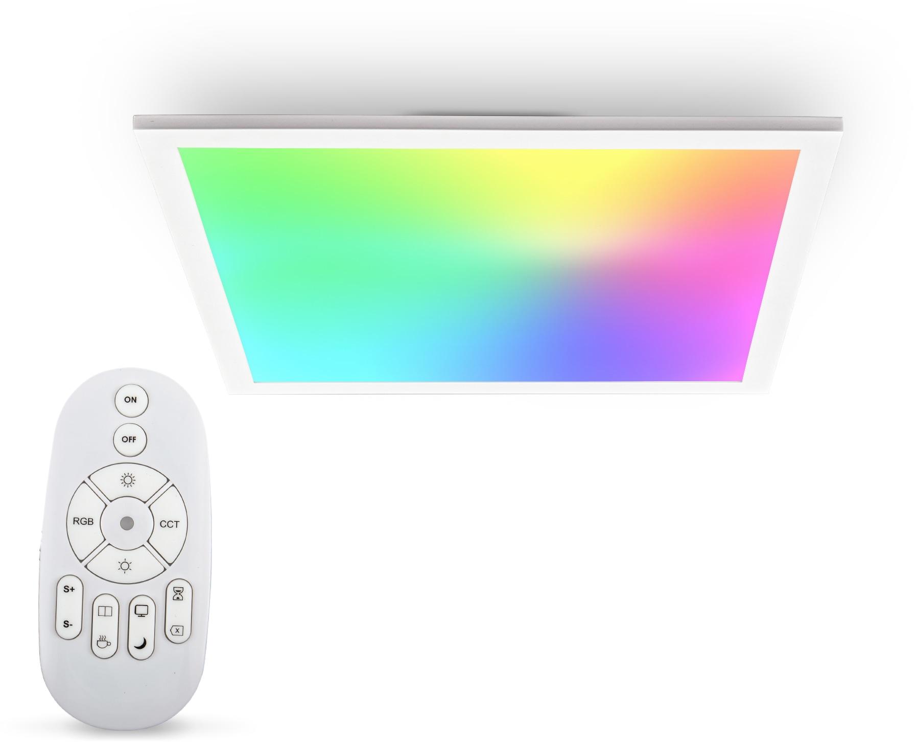 B.K.Licht Deckenleuchte, LED-Board, 1 St., LED Panel, Farbtemperatur, stufenlos einstellbar, 450x450x42mm, 7 Farben, Ultra Flach, Dimmbar, Fernbedienung