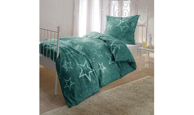 BETTWARENSHOP Bettwäsche »Grüne Sterne«, flauschig warmer Sternenlook kaufen