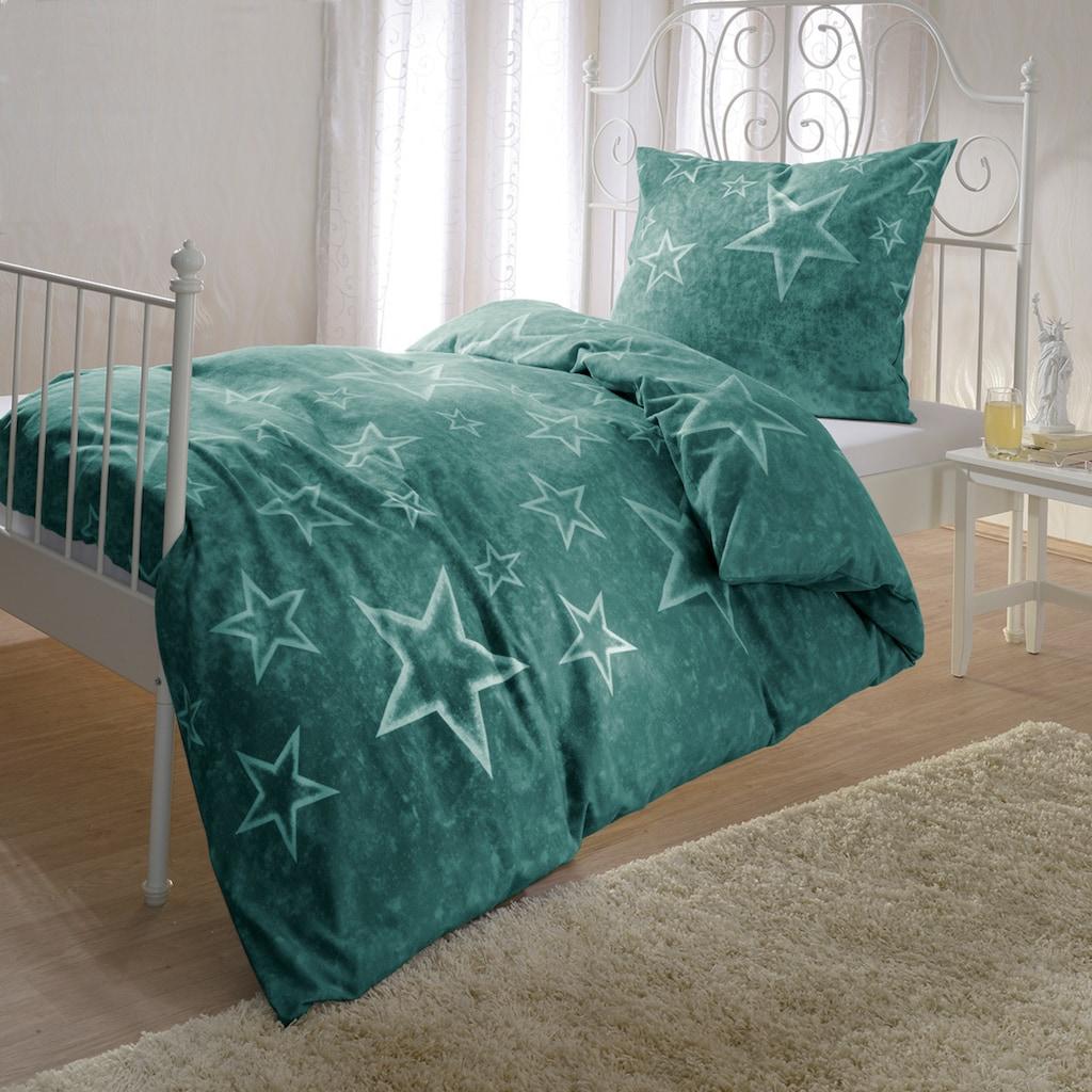 BETTWARENSHOP Bettwäsche »Grüne Sterne«, flauschig warmer Sternenlook