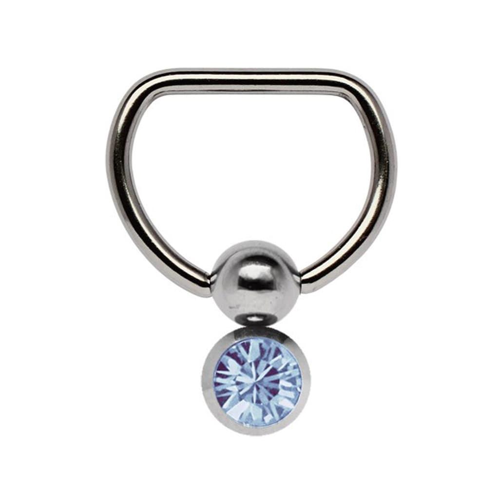 Adelia´s Brustwarzenpiercing »Brustpiercing«, Titan Brustpiercing D-Ring mit Doppel Klemmkugel und 6 mm Stein hellblau