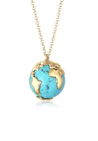 Elli Kette mit Anhänger »Erbskette Globus Weltkugel Syn. Howlith 925 Silber« kaufen