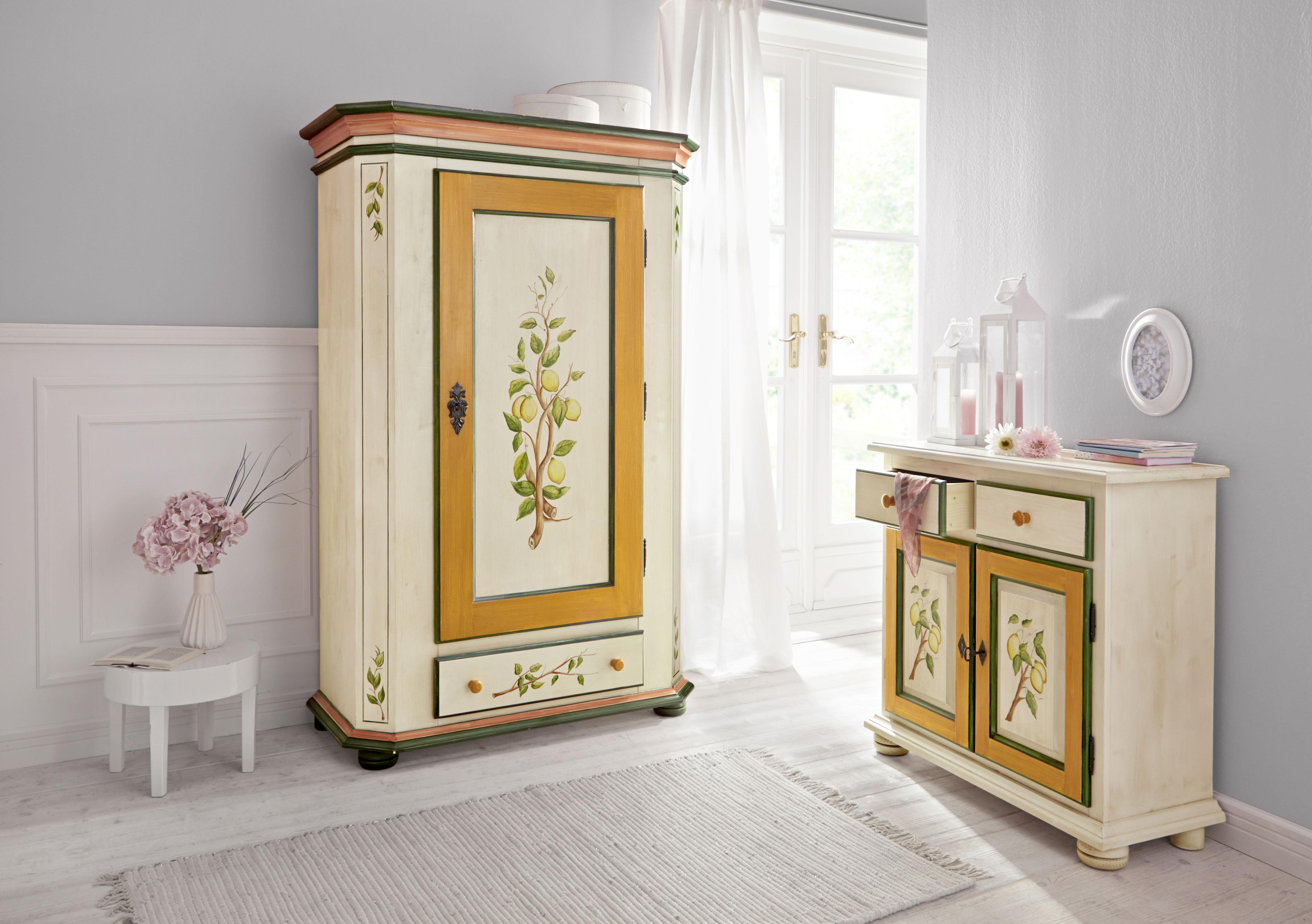 Home affaire Kleiderschrank Zitrone, mit schönem handgemalten Zitronengemälde, Breite 108 cm weiß Bauernschränke Schränke