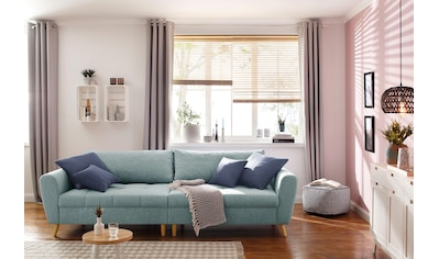 Home Affaire Big   Sofa »Penelope«, Feine Steppung, Lose Kissen,  Skandinavisches