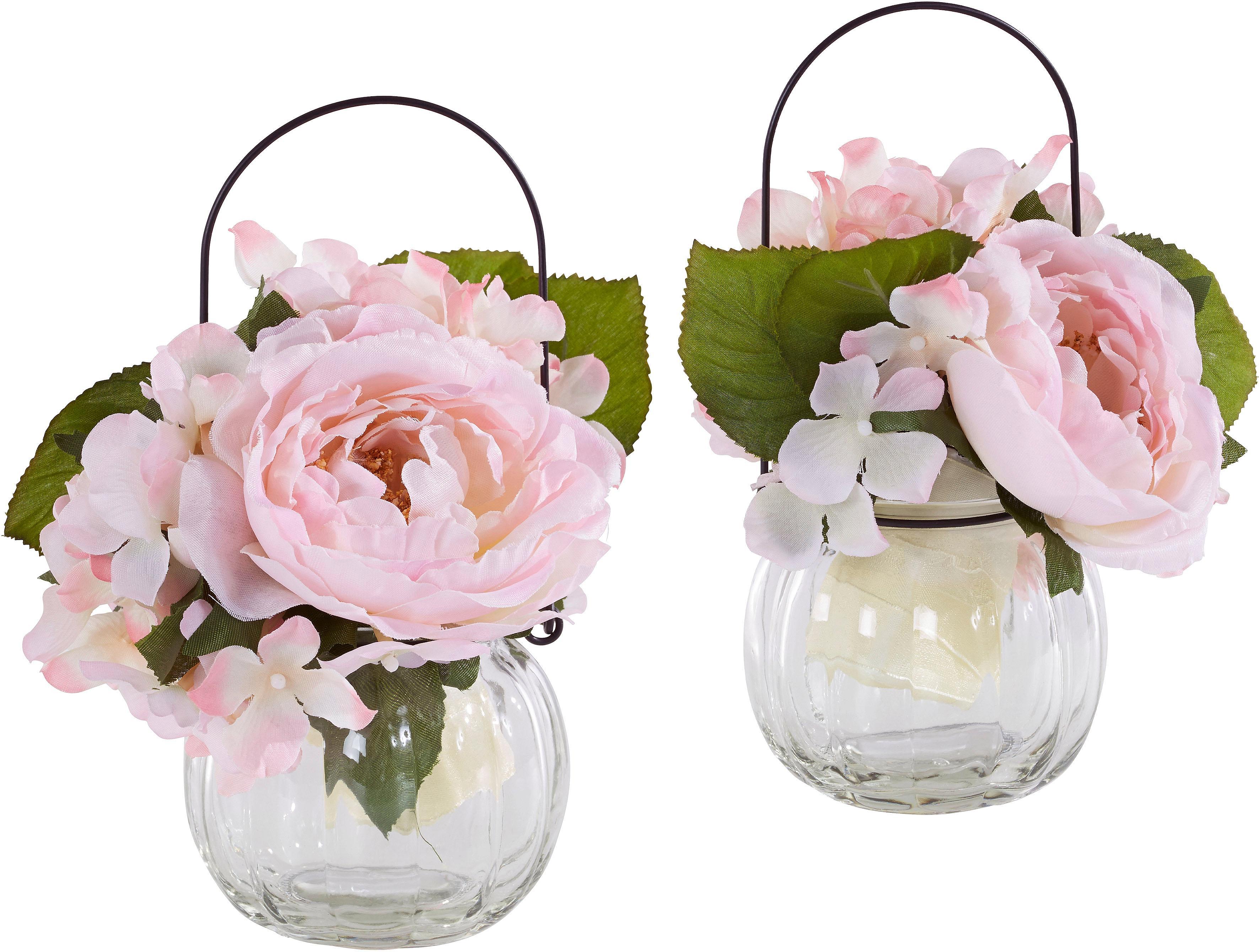 Kunstpflanze Rosen im Glas (Set 2 Stück) Preisvergleich