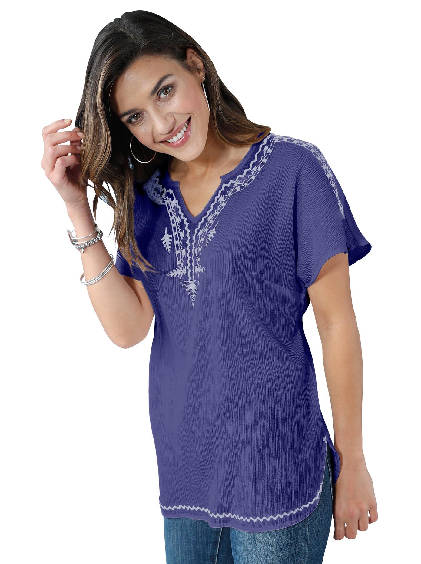 Classic Basics Bluse aus duftigem Crêpe