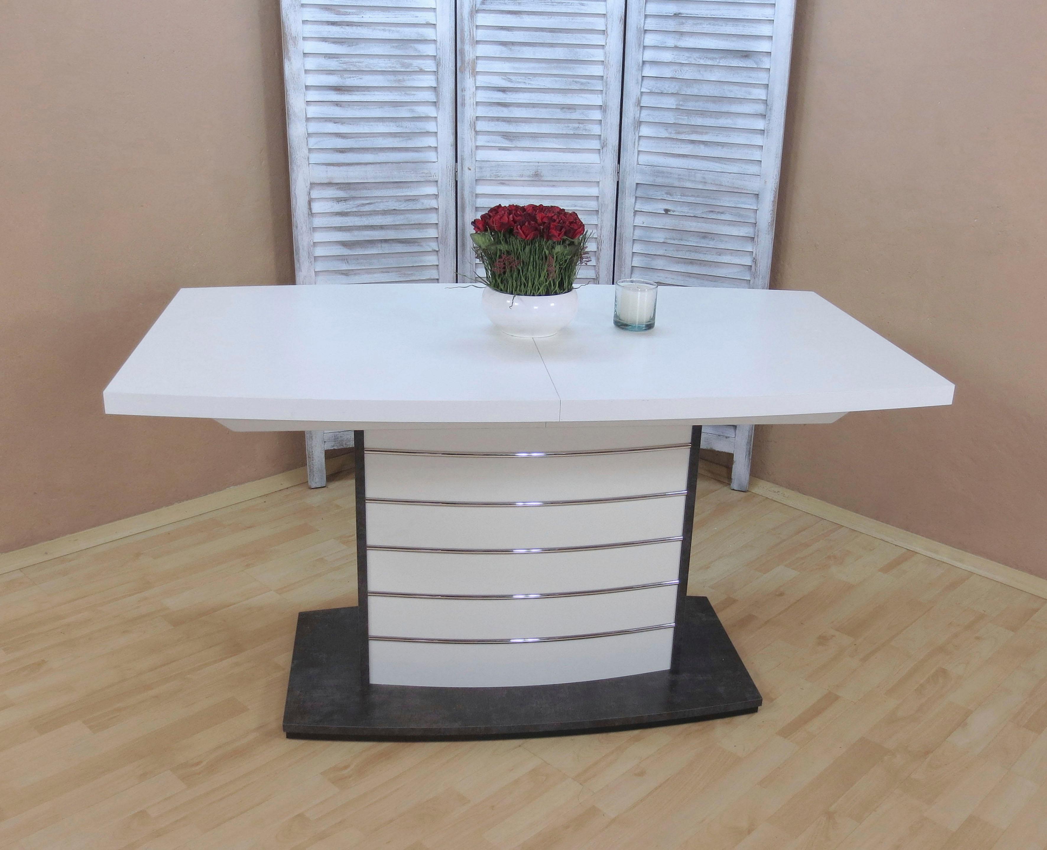 Esstisch Malibu, ausziehbar auf 180 cm weiß Esstische rechteckig Tische