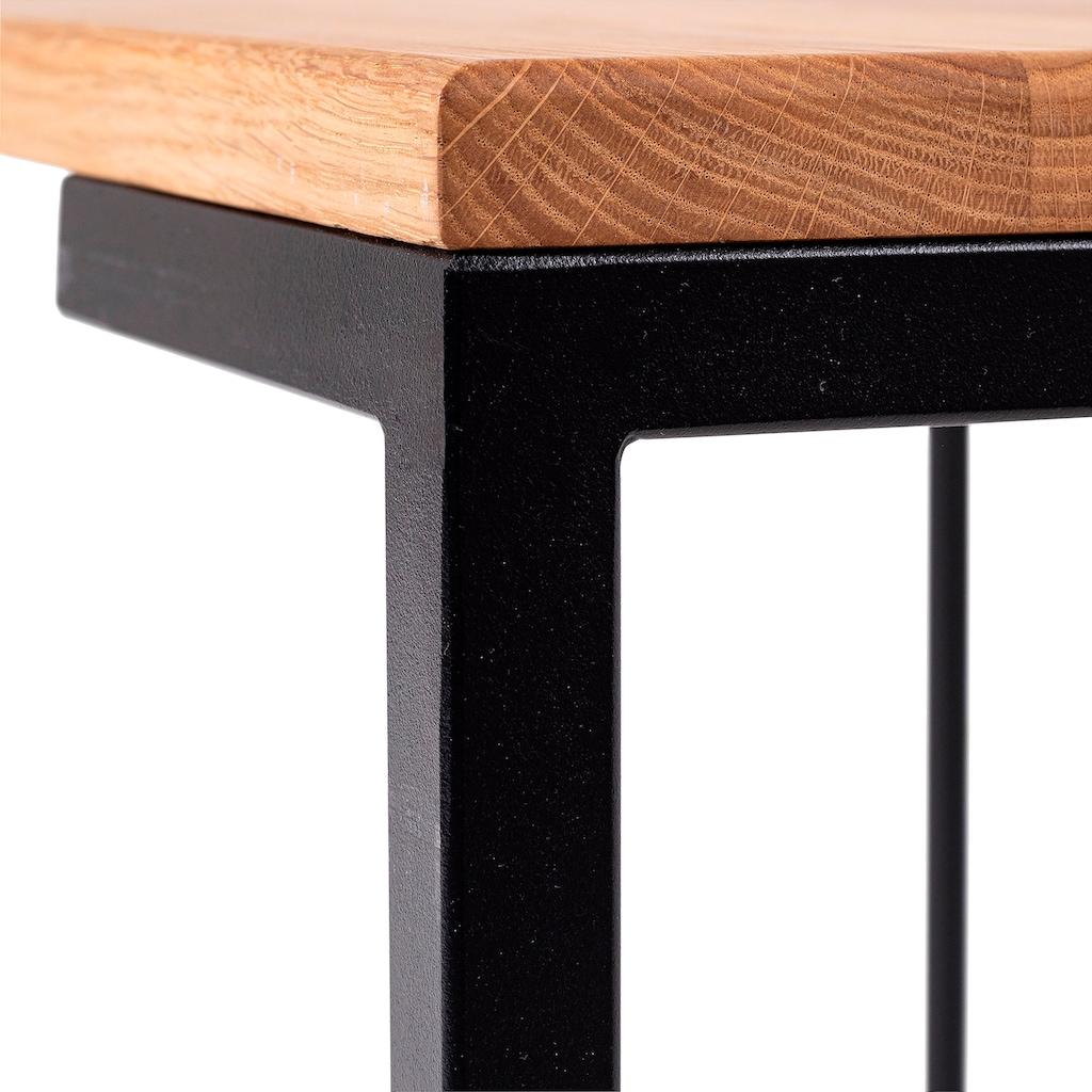 Homexperts Couchtisch »Roger«, Massivholz Eiche, Metall Untergestell in Schwarz, Breite 110 cm