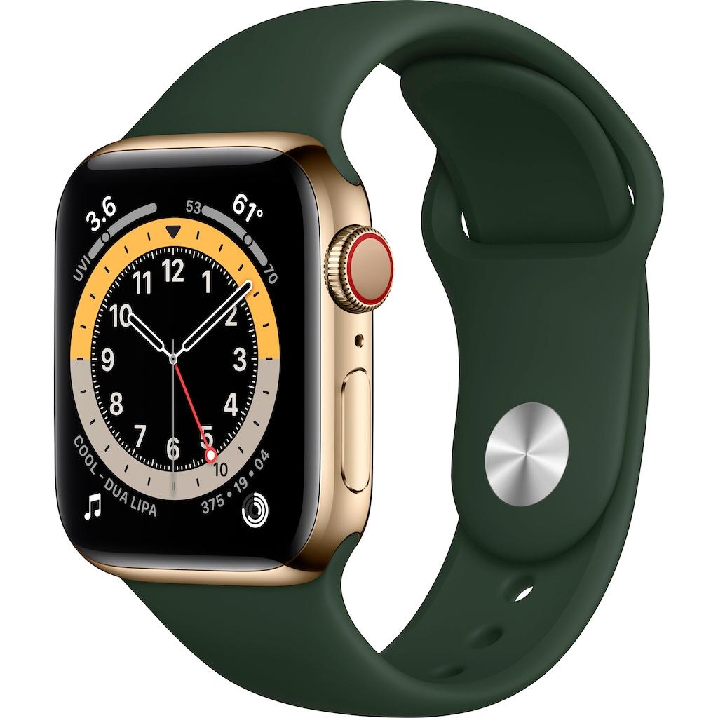 Apple Watch »Series 6 GPS + Cellular, Edelstahlgehäuse mit Sport Loop 40mm« (, Watch OS 6, inkl. Ladestation (magnetisches Ladekabel)