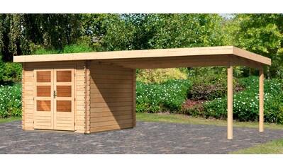 WOODFEELING Set: Gartenhaus »Bastrup 4«, BxT: 655x333 cm, mit Anbaudach kaufen