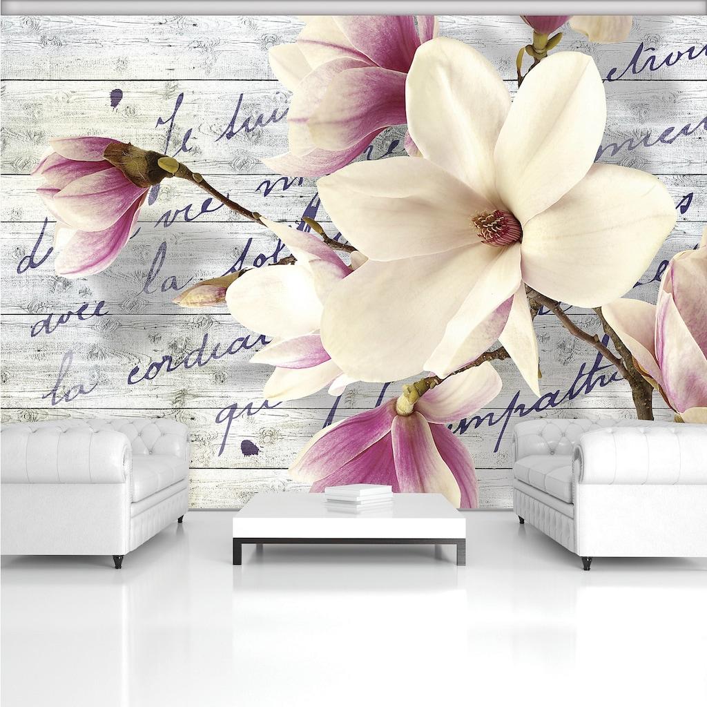 Consalnet Vliestapete »Magnolie auf Holzbrette«, verschiedene Motivgrößen, für das Büro oder Wohnzimmer
