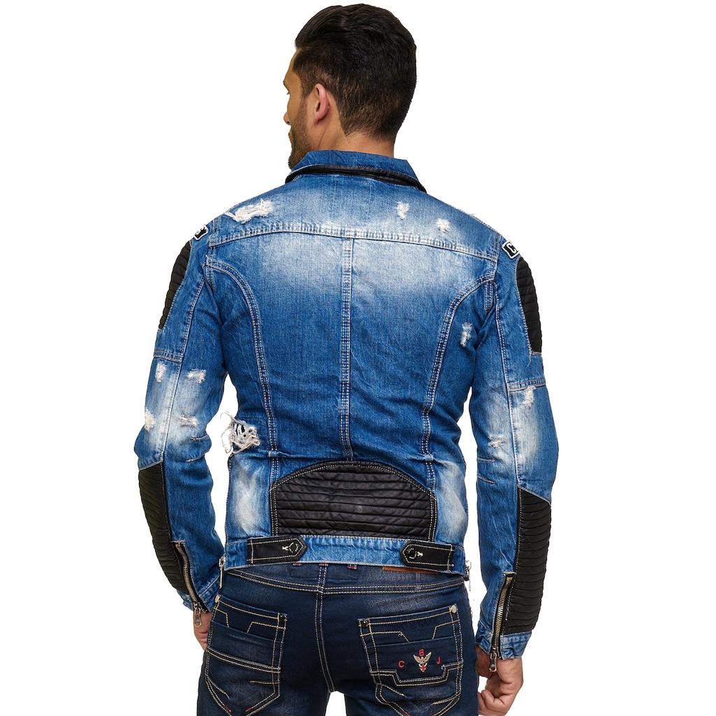 Cipo & Baxx Jeansjacke, in Destroyed-Optik mit Biker-Elementen