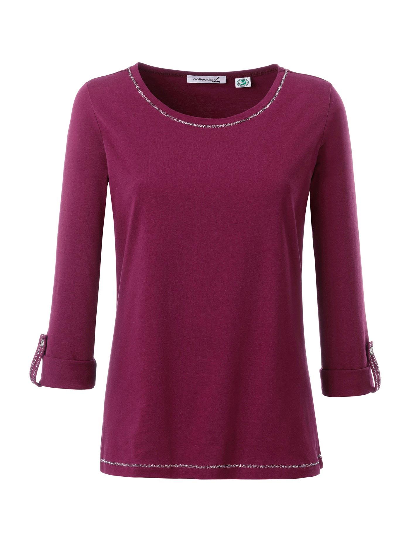 Casual Looks Longshirt mit silberglänzenden Ziernähten | Bekleidung > Shirts > Longshirts | Lila